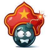 Bomba dos desenhos animados, fusível, feltro de lubrificação, ícone da faísca Smiley de Kokoshnik Imagens de Stock Royalty Free