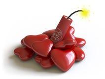 Bomba e corações Fotografia de Stock Royalty Free