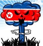 Bomba en la bandera de Corea del Norte  Imágenes de archivo libres de regalías