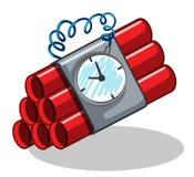 Bomba envuelta con el contador de tiempo Imágenes de archivo libres de regalías
