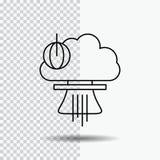 Bomba, explosión, nuclear, especial, línea icono de la guerra en fondo transparente Ejemplo negro del vector del icono ilustración del vector