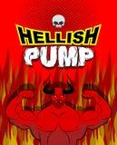 Bomba infernal Culturista de Satanás con los músculos enormes Entrenamiento con Foto de archivo