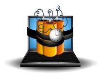 bomba laptopa komputerowy razem ilustracji