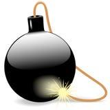 Bomba negra explosiva de la bola con el fusible ardiendo Imágenes de archivo libres de regalías