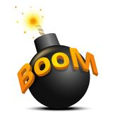 Bomba nera pronta ad esplodere Fotografia Stock Libera da Diritti