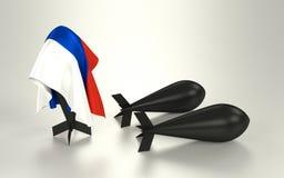 Bomba ocultada debajo de una bandera rusa Imagen de archivo
