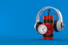 Bomba-relógio com fones de ouvido Ilustração Stock