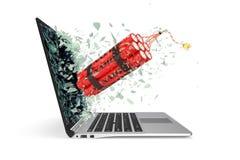 Bomba stijgt van het laptop het schermglas die in kleine deeltjes breken op 3D Illustratie Stock Afbeeldingen