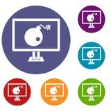 Bomba sulle icone del monitor del computer messe royalty illustrazione gratis