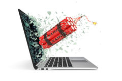 Bomba takes off from the laptop screen glass breaking into small particles. 3d illustration Stock Images