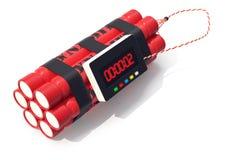 Bomba vermelha da dinamite de TNT com um temporizador isolado no fundo branco ilustração 3D ilustração royalty free