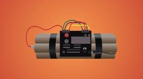 Bombardee la dinamita con el contador de tiempo y ate con alambre el fondo anaranjado Imagen de archivo