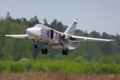 Bombardeiro de Sukhoi Su-24M da aterrissagem da força aérea do russo na base da força aérea de Kubinka Imagem de Stock Royalty Free