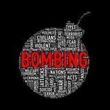 Bombardera bombning för formwordcloudetiketten Arkivfoto