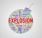 Bombardera explosionen för formwordcloudetiketten Arkivbild
