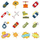 Bombardera plana symboler Bombarderar och sprängmedelpictograms royaltyfri illustrationer