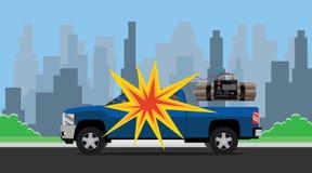 Bombardera suv och staden för dynamit för bilexplosionterrorist som bakgrund royaltyfri illustrationer