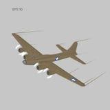 Bombardero pesado legendario de la guerra mundial del vintage 2 Aviones pesados propulsados retros viejos del motor de pistón Ilu stock de ilustración