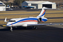 Bombardier BD-700-1A11 Global 5000. Parked on the the apron. FALA — Lanseria International Airport — South Africa royalty free stock images
