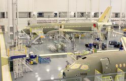 Bombardier C100 series jet manufacturing plant Stock Photography