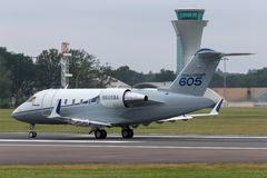 Bombardier Challenger 605 CL-600-2B16 business jet aircraft N605BA. Farnborough, UK - July 20, 2014: Bombardier Challenger 605 CL-600-2B16 business jet aircraft royalty free stock photos