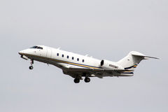Bombardier Challenger 300. MOSCOW, RUSSIA - MAY 10, 2013: Private jet Bombardier Challenger 300 takes off the Domodedovo International Airport stock image