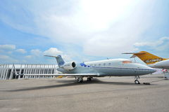 Bombardier Challenger 605 twin engine executive jet on display at Singapore Airshow Stock Photography