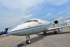 Bombardier Challenger 605 twin engine executive jet on display at Singapore Airshow Royalty Free Stock Photos