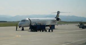 Bombardier CRJ-900LR, Lufthansa regional airplane landing. SIBIU, ROMANIA - CIRCA 2016: Bombardier CRJ-900LR, Lufthansa Regional aircraft landing at Sibiu stock footage