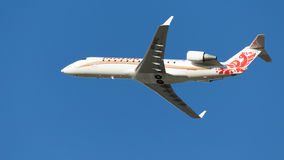 Bombardier crj-100 van passagiersvliegtuigen Royalty-vrije Stock Foto's