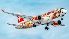 Bombardier CS-300 Swiss Airlines Obraz Stock