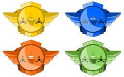 Bombardier dans les ailes et l'emblème de cercle Photo stock