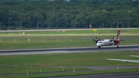 Bombardier Dash 8 take-off. DUSSELDORF, GERMANY - JULY 23, 2017: AirBerlin Bombardier Dash 8 D-ABQI accelerate before take-off. Slow motion. Dusseldorf Airport stock video footage