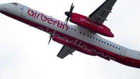 Bombardier Dash 8 take-off. Dusseldorf, Germany - July 23, 2017: AirBerlin Bombardier Dash 8 D-ABQI take-off. Slow motion. Dusseldorf Airport, Germany stock footage