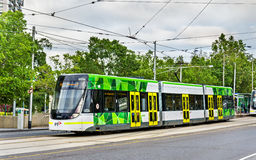 Bombardier E Class tram at Parliament Station in Melbourne, Australia. Melbourne, Australia - December 29, 2016: Bombardier E Class tram at Parliament Station stock photography