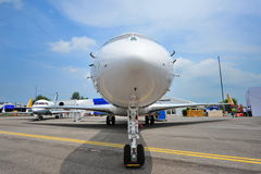 Bombardier Global 6000 twin engine business jet on display at Singapore Airshow Royalty Free Stock Image