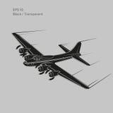 Bombardier lourd légendaire de la guerre mondiale de vintage 2 Vieux rétros avions lourds propulsés de moteur à piston Illustrati illustration de vecteur