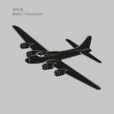 Bombardier lourd légendaire de la guerre mondiale de vintage 2 Vieux rétros avions lourds propulsés de moteur à piston icône d'il illustration de vecteur