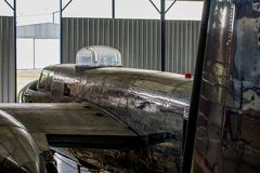 Bombardier 52 airplane being repaired from world war II. Bombardier 52 military airplane being repaired from world war II stock photo