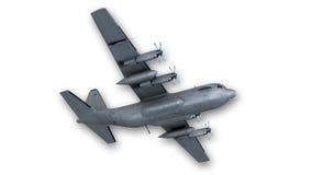 Bombardiere, aereo militare su bianco, vista dal basso Immagini Stock
