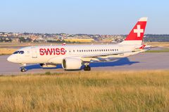 Bombardiere CS-300 Swiss Airlines Immagine Stock