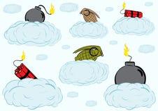 Bombas em nuvens Imagens de Stock Royalty Free