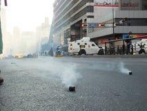 Bombas lagrimogenas en chacao. Protestas y disturbios en contra del gobierno venezolano de Nicolas Maduro. abril 2014 Stock Image