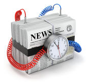 Bombastic news. 3D time bomb concept with pile of newspapers with lorem ipsum text Royalty Free Stock Photos