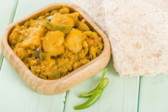 Bombay Aloo. Spiced potatoes served with chapatis Royalty Free Stock Photos