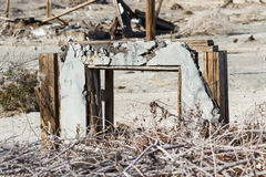 Bombay Beach, California. The remains and standing frames in the once popular town Bombay Beach in the Salton Sea, California Stock Photo