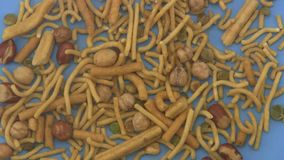 Bombay mix on a blue background. stock video footage