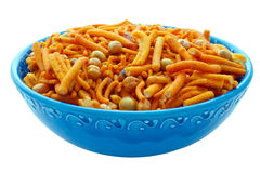 Bombay Mix in Blue Bowl Royalty Free Stock Photography