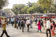 Bombay street scene. Thousands of people walking in the city center of Bombay Stock Images