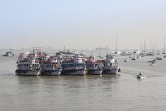 Bombay tourist boats. Near the gateway of India are always many boats, waiting for tourists Royalty Free Stock Photos